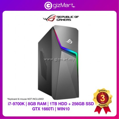 ASUS ROG Strix GL10C-SMY029T Gaming Desktop PC (i7-9700K, 1TB+256GB, 8GB, GTX1660Ti, Win10)