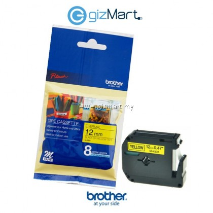Brother P-Touch M Tape 12MM Black on White / Yellow / Blue For Indoor Use 8M - Single Pack