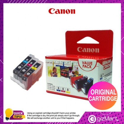 (New Sealed Expired) Canon CLI-8 Ink Cartridge Value Pack CLI-8C + CLI-8M + CLI-8Y
