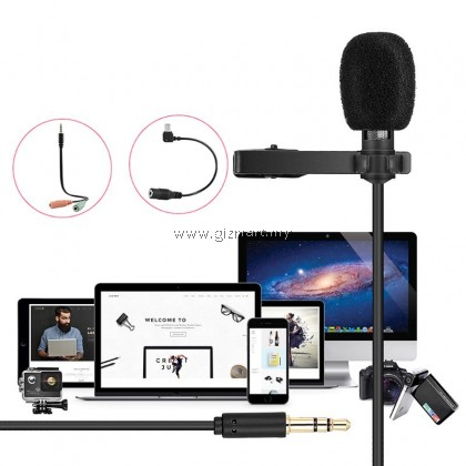 Yanmai R955 Clip-on Lavalier Omnidirectional Double Condenser Microphone For PC, Smartphone & GoPro Camera