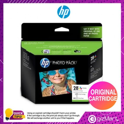 (New Sealed Expired) HP Ink Cartridge HP 28 Tri-Color Ink Cartridge + 25 Sheets Photo Paper