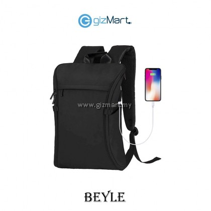 """BEYLE 15.6"""" Waterproof Anti Theft with USB Charging Port Backpack- Black"""