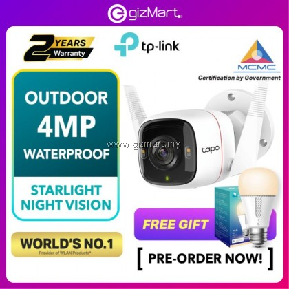 [PRE-ORDER] TP-Link Tapo C320WS   2K/4MP Full Color Night Vision Outdoor IP66 Security CCTV+Free Gift (ETA: 2021-08-08)