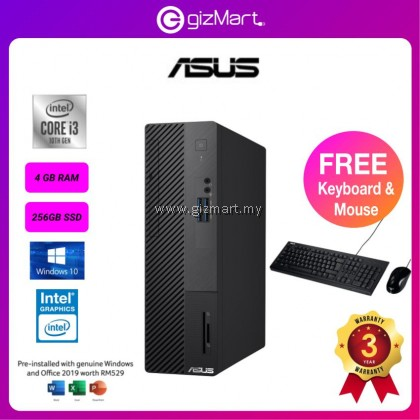ASUS Expertcenter Small Factor Form S500SA-310100069TS Desktop PC (i3-10100, 4GB RAM, 256GB SSD, Intel UHD Graphics, Windows 10, Office H&S)