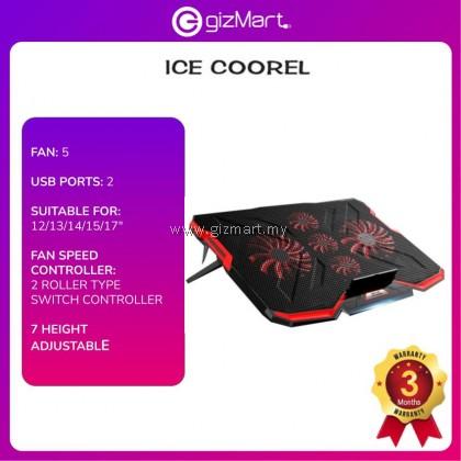 Ice Coorel A2 Notebook 5 Fans Cooler Pad Adjustable Speeds With LED Lights