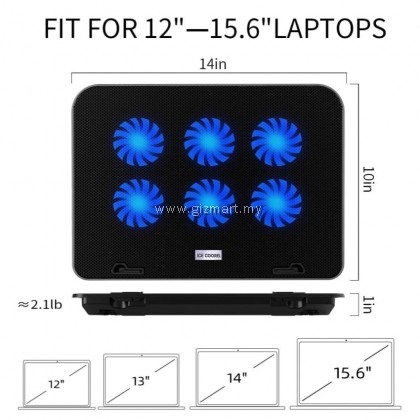 Ice Coorel A9 Laptop Cooler Cooling Pads with 6 Quiet Cooling Fans and 5 Height Adjustable & Speed Control