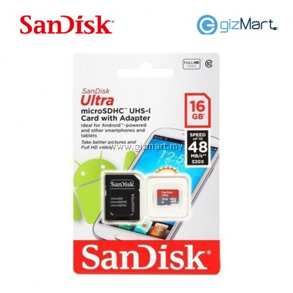 SANDISK ULTRA MICRO SDHC UHS 16GB+ADAPTER CLASS 10 ANDROID 48MB/S